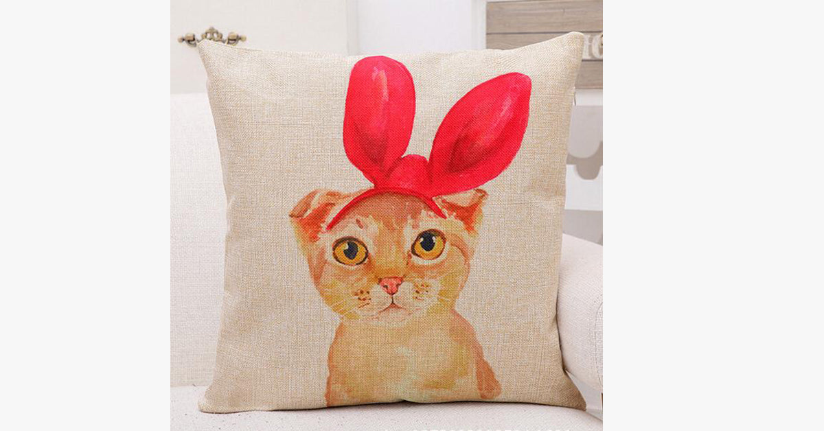 Red Bow Cat Pillow Cover