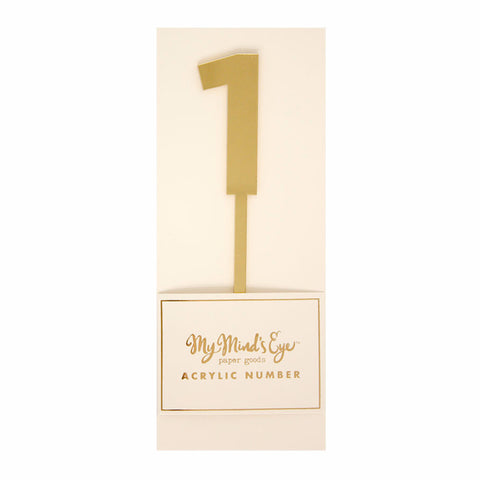 Cake Topper | Gold Acrylic Number ONE