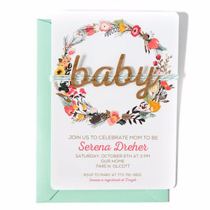 Baby Shower Invitation | Floral Woodland WOOD Baby