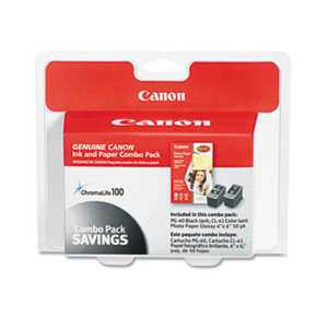 Canon 0615B009 0615B009 (PG-40/CL-41) ChromaLife100+ Ink & Paper Combo Pack, Black/Tri-Color