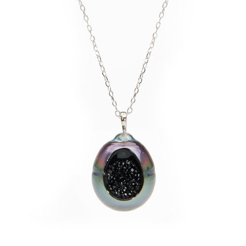 Tahitian Pearl and Black Diamond Pendant