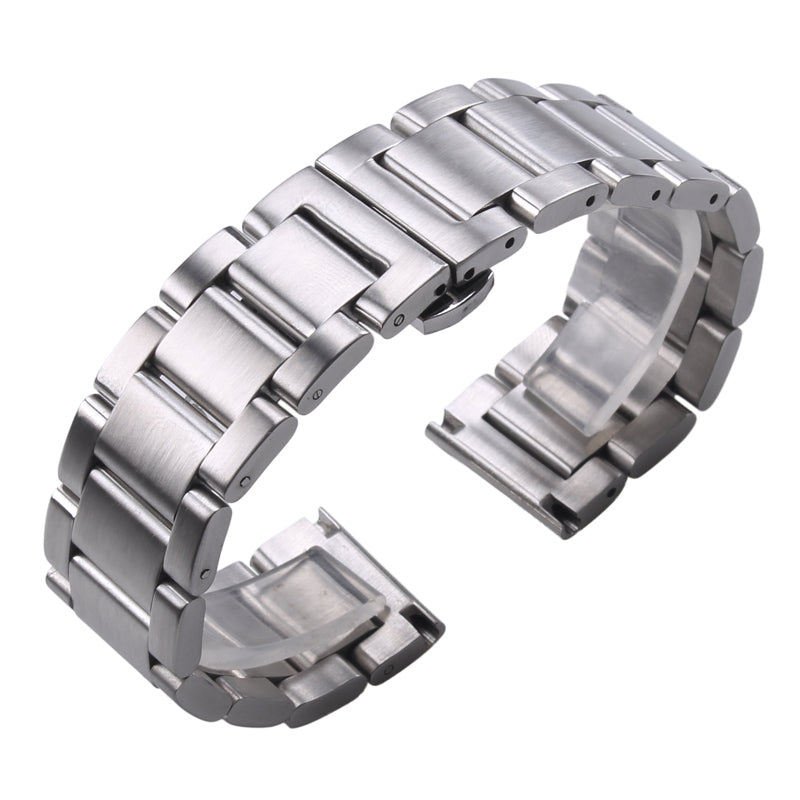 Solid Watch Band Made Out of Premium Stainless Steel With Hidden Push Button, Multiple Finishes.
