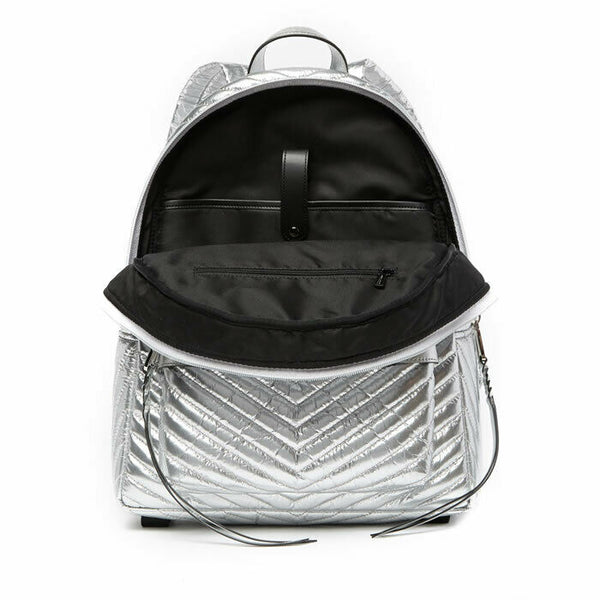 Rebecca Minkoff Pippa Large Quilted Metallic Silver Nylon Backpack