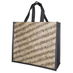 'Everyday Shopper' Music Stave Jute Bag (Brown/Natural)