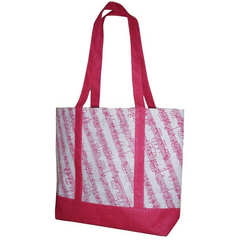 'Girly Tote' Music Stave Jute Bag (Pink/White)