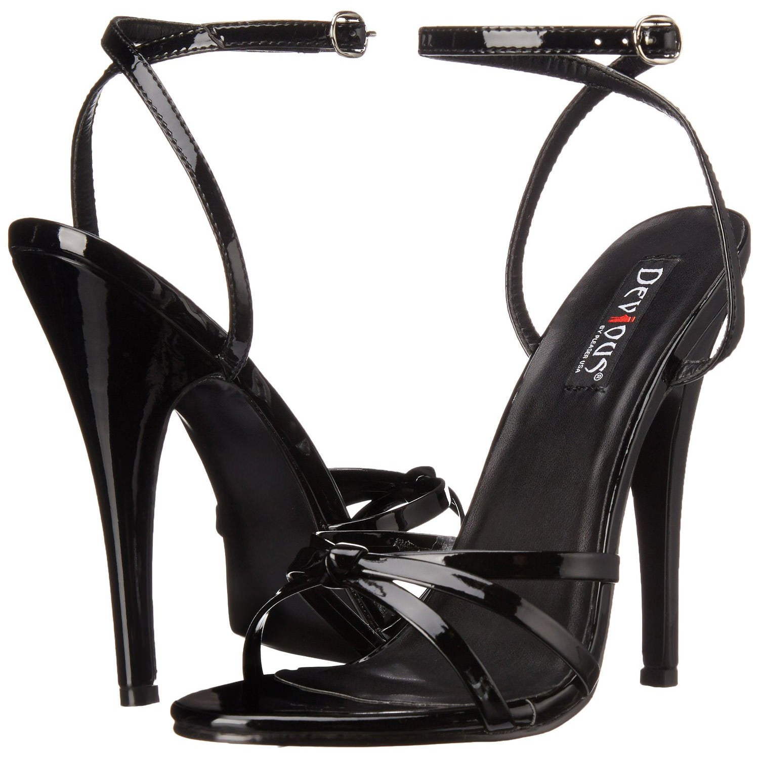 Devious,DEVIOUS DOMINA-108 Black Pat Ankle Strap Sandals - Shoecup.com