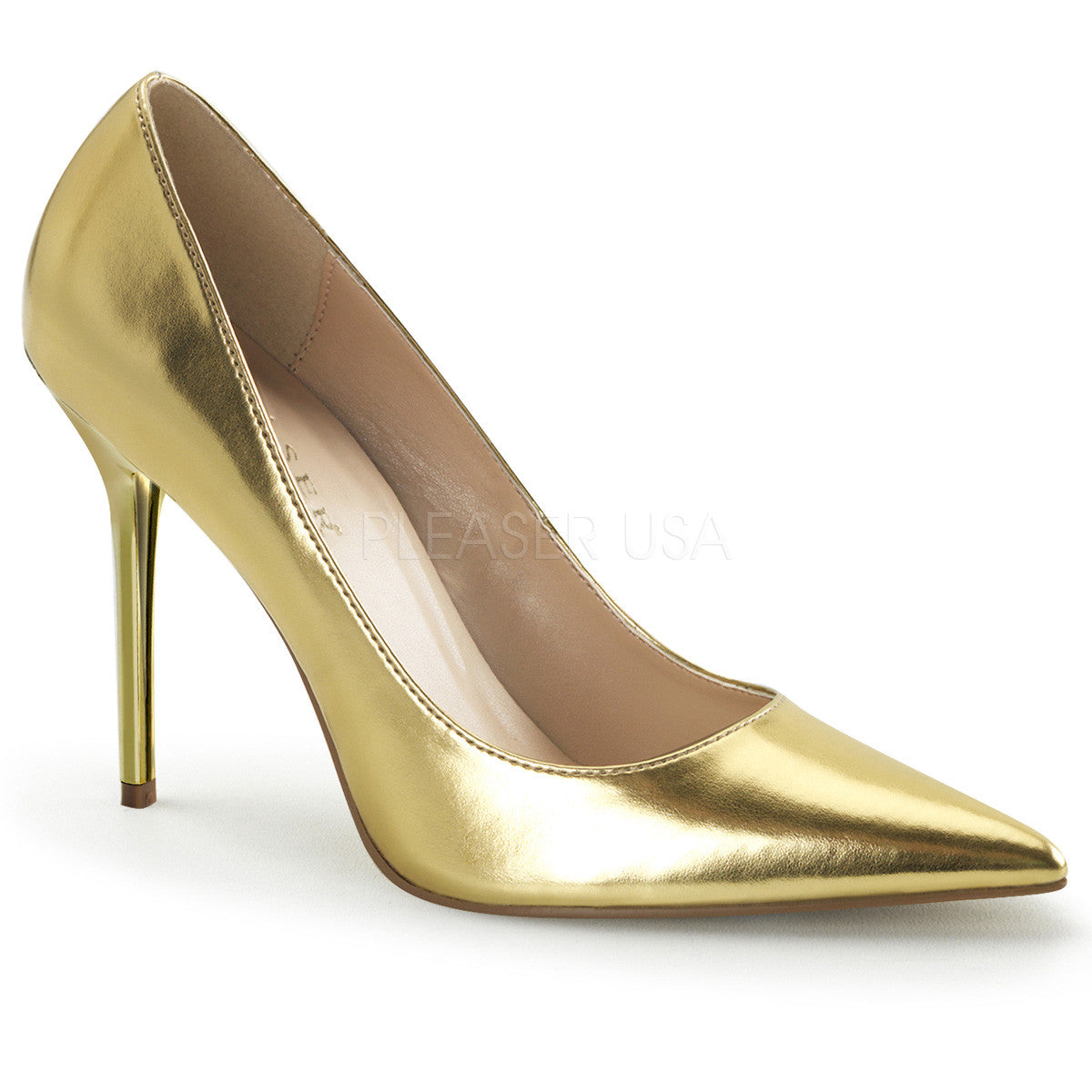 PLEASER CLASSIQUE-20 Gold Met Pu Pumps - Shoecup.com
