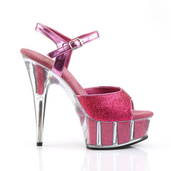 PLEASER DELIGHT-609-5G Hot Pink Glitter-Hot Pink Glitter Ankle Strap Sandals