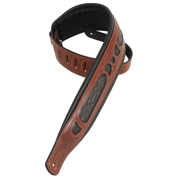 "LEVY'S PM31 CARVING LEATHER 3"" GUITAR STRAP WALNUT"