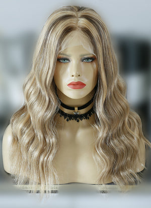"16"" Medium Wavy Blonde Mixed Brown Lace Front Virgin Natural Hair Wig HG006 - wifhair"
