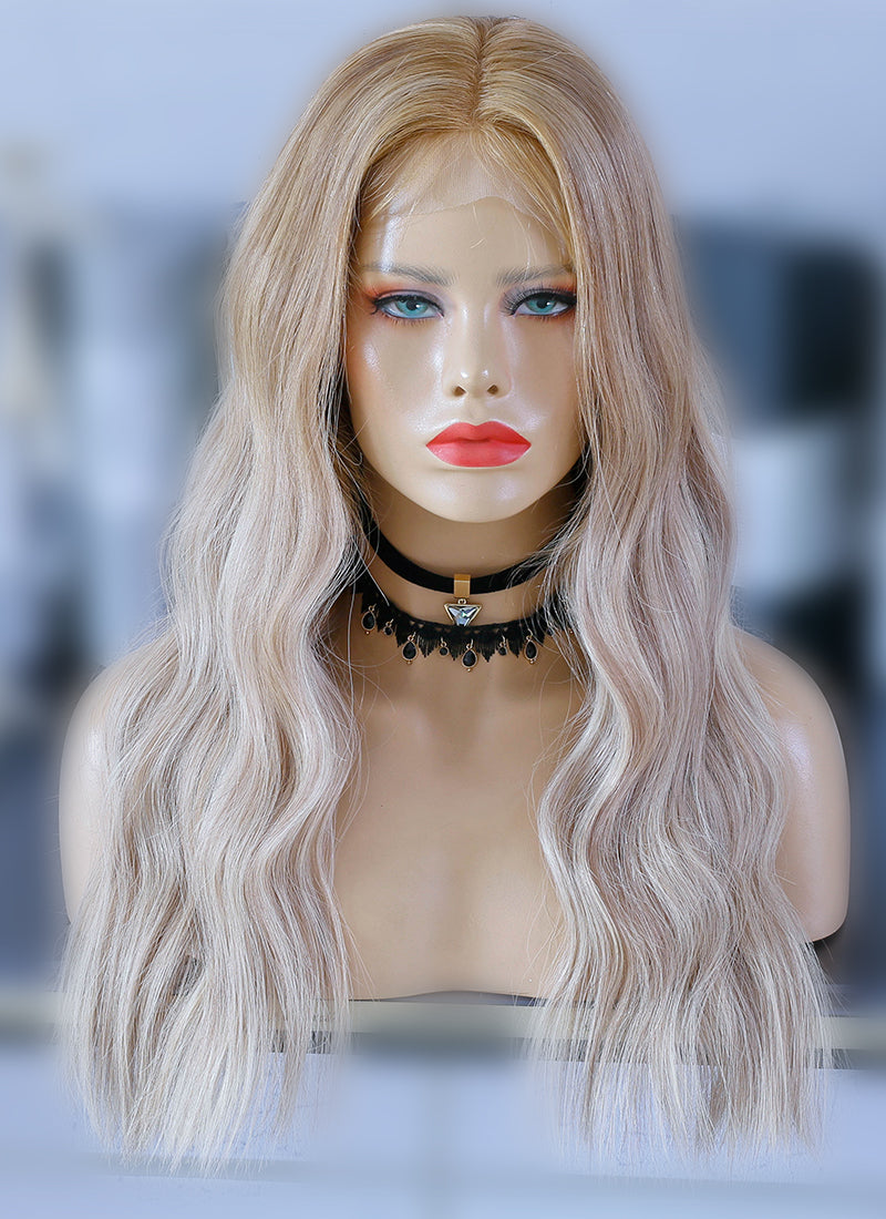 "22"" Long Two Tone Blonde Ombre Wavy Lace Front Virgin Natural Hair Wig HG062 - wifhair"