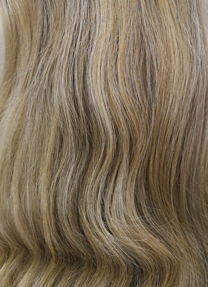 "16"" Medium Wavy Mixed Blonde With Brown Roots Lace Front Virgin Natural Hair Wig HG019 - wifhair"