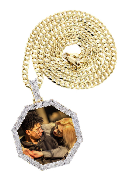 10K Yellow Gold Diamond Octagon Picture Pendant & Cuban Chain | Appx. 22 Grams