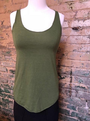 Bamboo Racerback Tank- XS OLIVE GREEN LEFT ONLY
