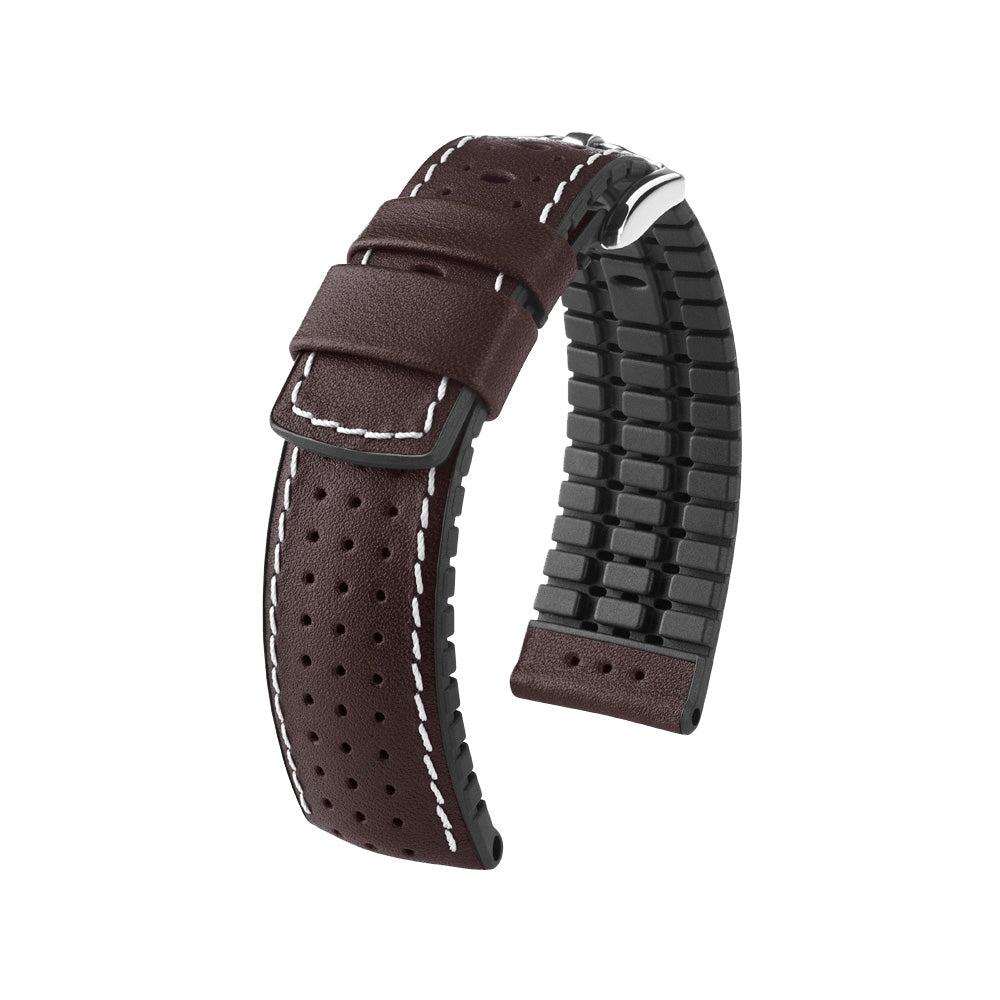 Hirsch Performance Tiger - leather-rubber strap - brown - www.toptime.eu