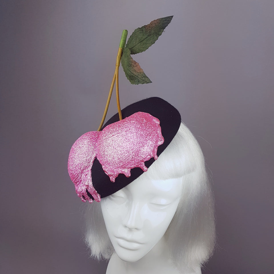 """BonBon"" Giant Glittered Cherries Hat"