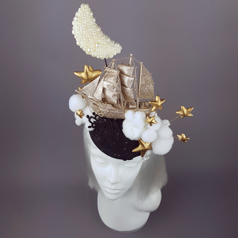 """Ocean of the Sky"" Gold Ship & Moon Hat"
