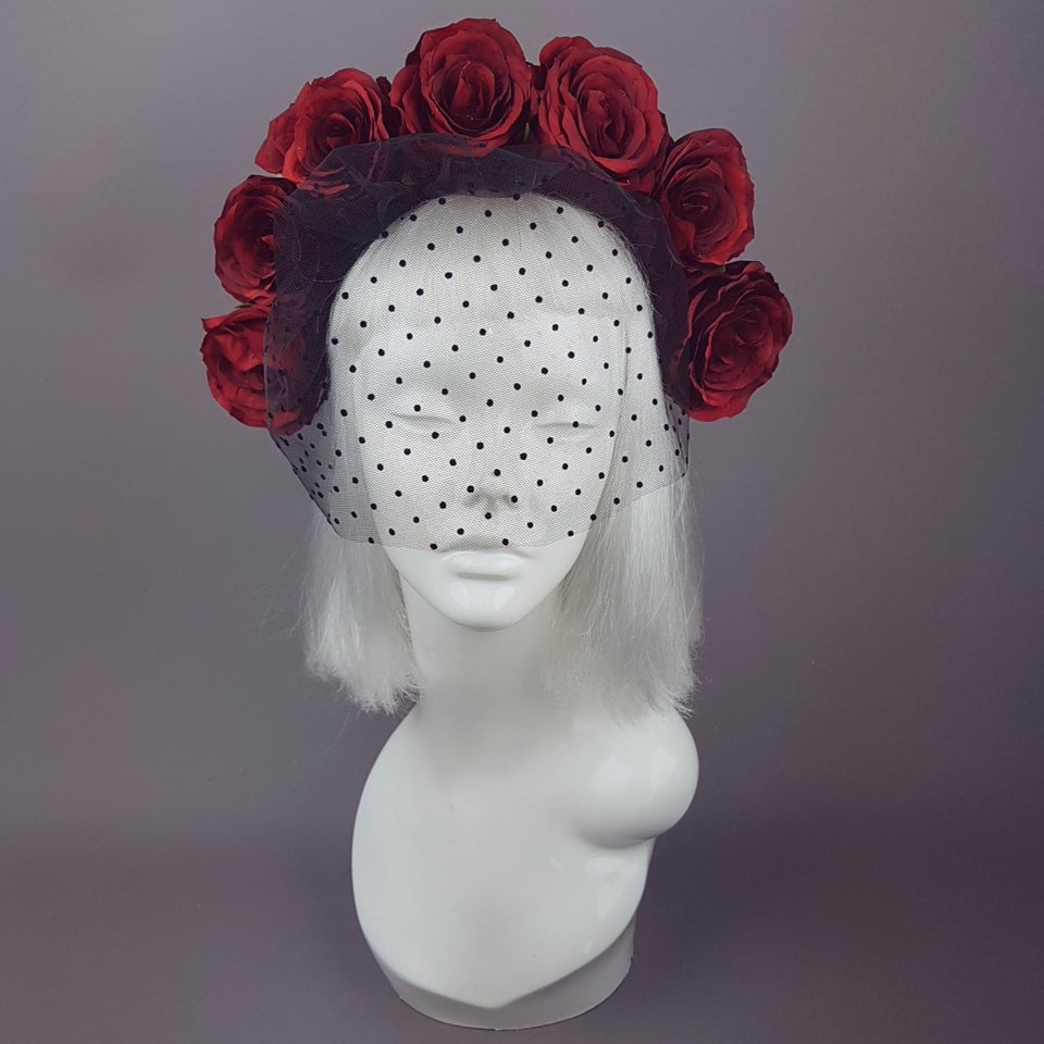 """Rouge"" Red Rose Flower Crown with Veil"