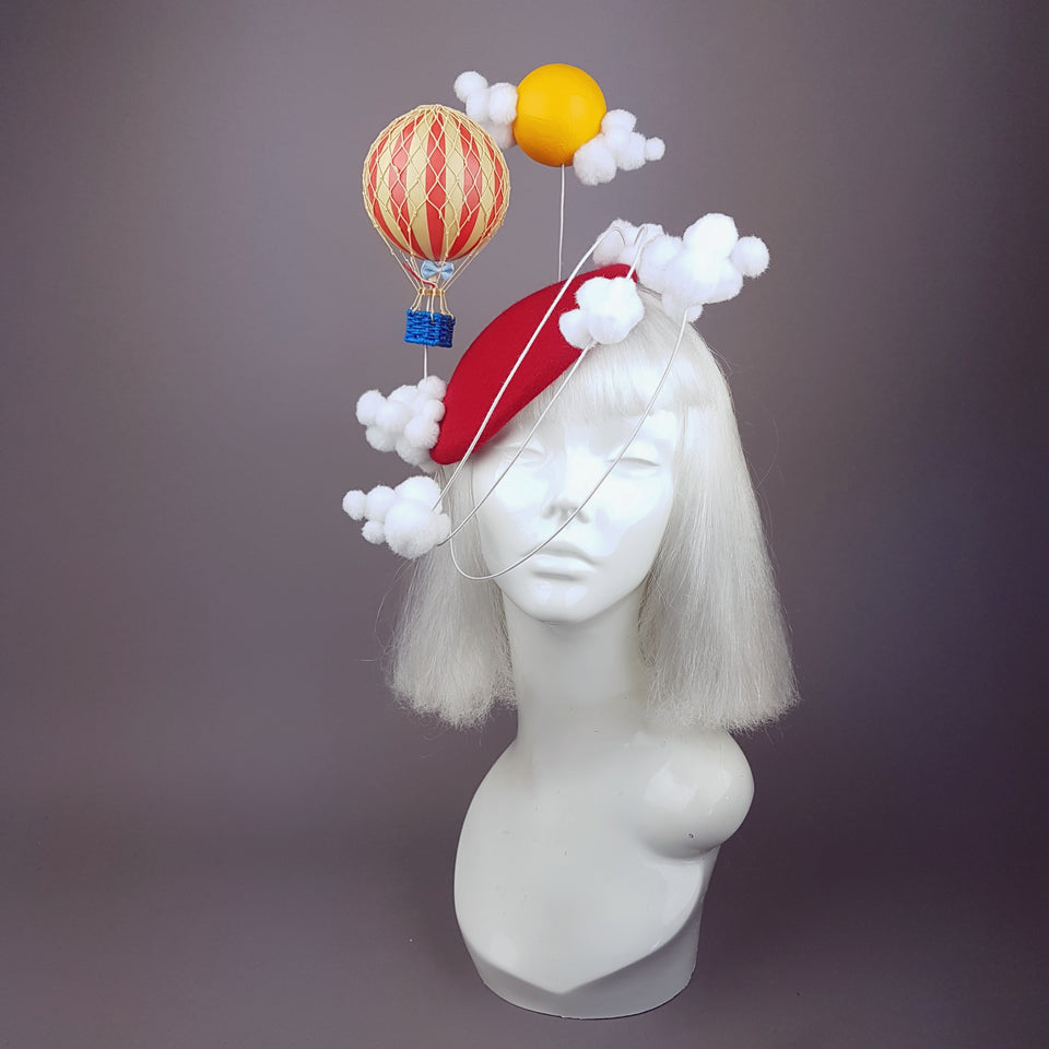 """Flight of Fancy"" Hot Air Balloon, Sun, Clouds Fascinator Hat"