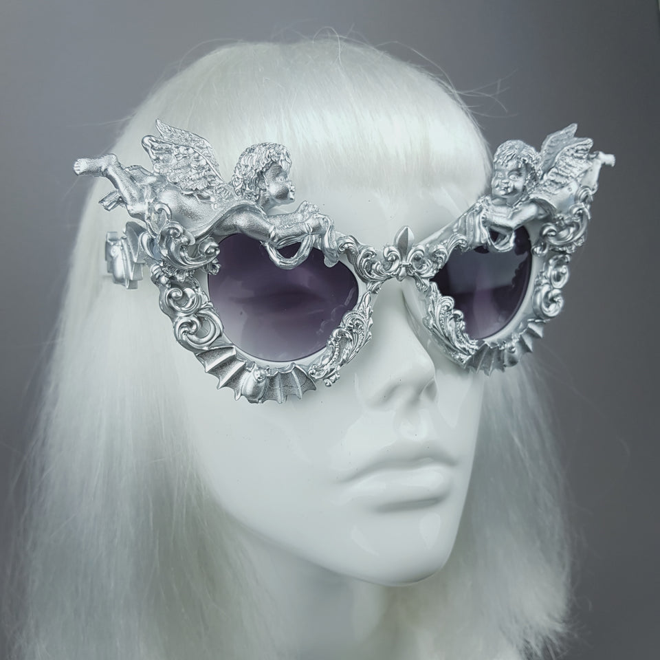 """Kalma"" Silver Filigree & Bat Ornate Sunglasses"