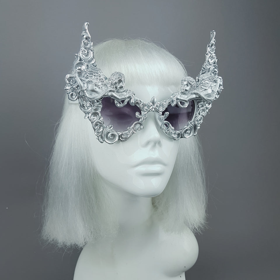 """Decadence"" Outrageous Silver Filigree Sunglasses"