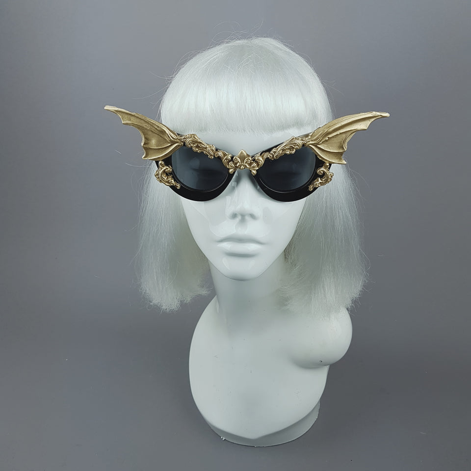 """Vamp"" Gold Bat Wing Filigree Catseye Sunglasses"