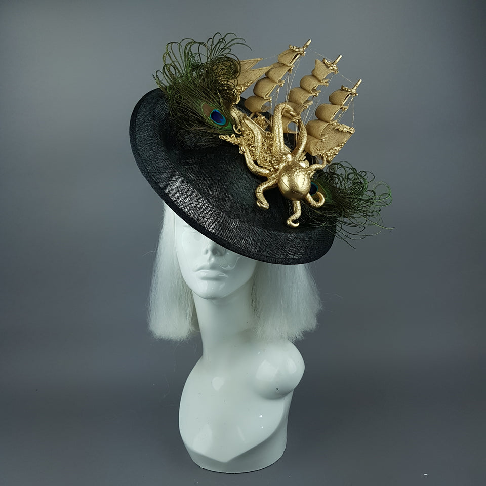 """Ira"" Gold Ship, Octopus, Filigree & Peacock Feather Fascinator Hat"