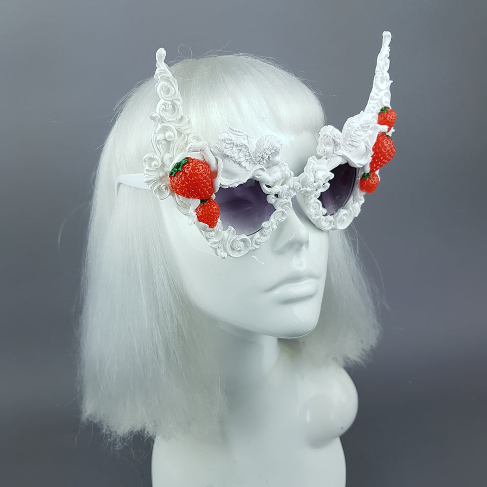 """Heavenly"" Strawberries & Cream Cherub Filigree Sunglasses"