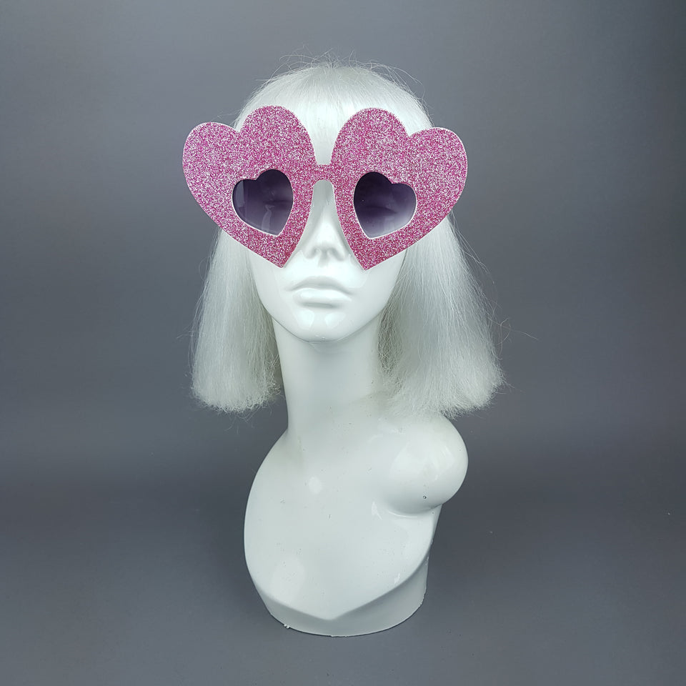 """Queen of Hearts"" Pink Glitter Heart Sunglasses"