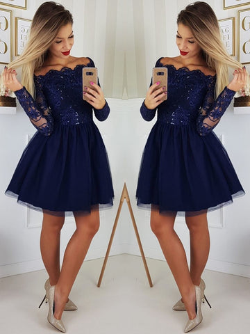 A Line Long Sleeves Lace Navy Blue Short Prom Dresses, Navy Blue Lace Homecoming Dresses