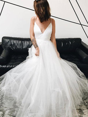 A Line V Neck White Tulle Long Prom Dresses, V Neck White Wedding Dresses, White Formal Dresses, Evening Dresses