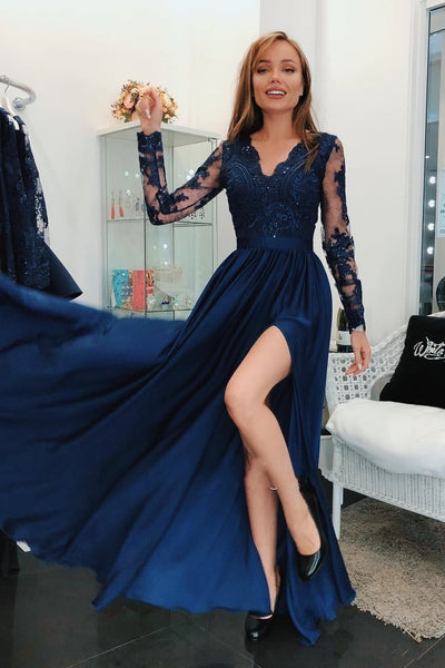 Navy Blue Long Sleeves Beaded Lace Long Prom Dresses with High Slit, Long Sleeve Navy Blue Formal Dresses, Lace Evening Dresses