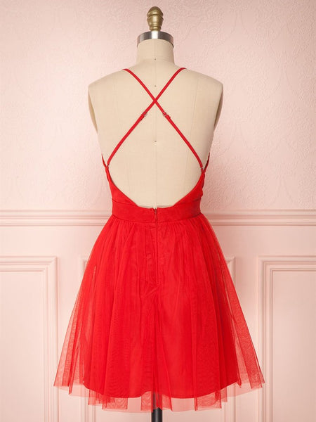 Simple Red V Neck Backless Tulle Homecoming Dresses Short Prom Dresses, Cute Red Formal Dresses, Evening Dresses, Graduation Dresses