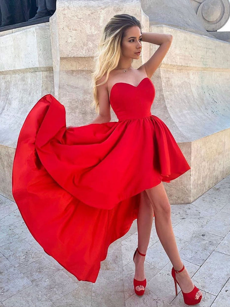 Sweetheart Neck High Low Red Prom Dresses, High Low Red Homecoming Dresses, Red Formal Graduation Evening Dresses