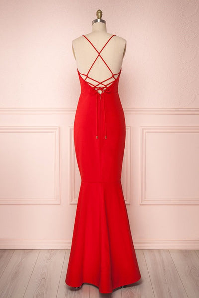 Thin Straps Backless Mermaid Red Prom Dresses, Red Mermaid Formal Dresses, Backless Red Evening Dresses