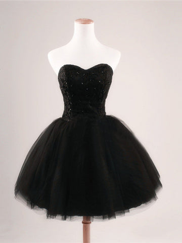Black Ball Gown Sweetheart Short Prom Dresses,Black Prom Dress,Cheap Short Black Dresses For Prom,Little Black Prom Dress, Cocktail Dresses