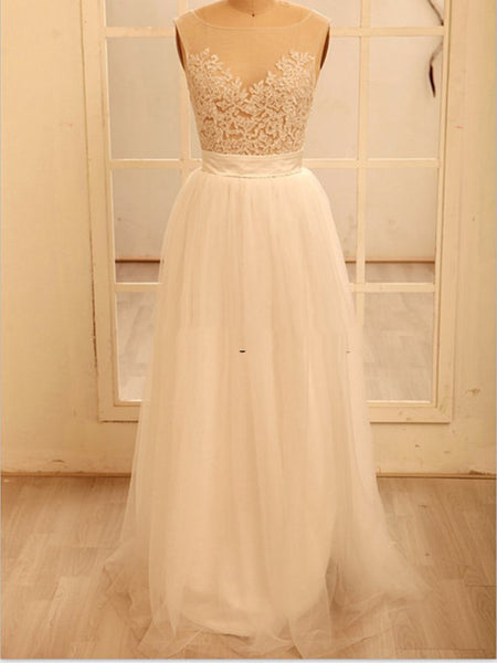 A Line Round Necklace Lace Wedding Dresses, Deep V Neck Back Dress, Ivory Dresses For Wedding