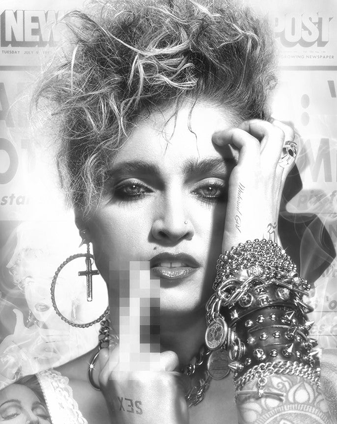 JJ Adams - Lucky Star (Madonna) - Black & White Limited Edition Print