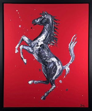 Paul Oz - Rampante Cavallo (Red) - Framed Limited Edition Canvas Artwork