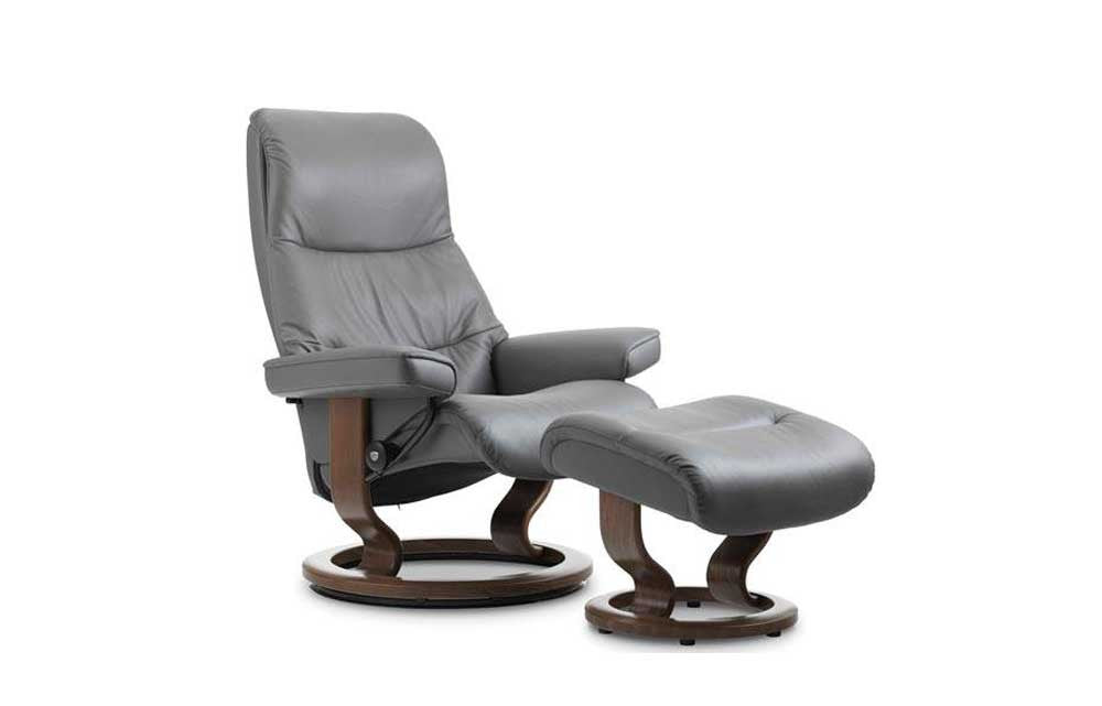 Stressless View Recliner Chair with Footstool (L) (Classic Base)