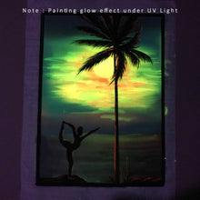 Load image into Gallery viewer, UV Glow Yoga sunset painting made from fluorescent colors