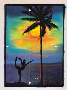 UV Glow Yoga sunset painting made from fluorescent colors