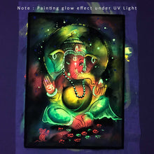 Load image into Gallery viewer, UV Glow Lord Ganesh Colors painting made from fluorescent colors