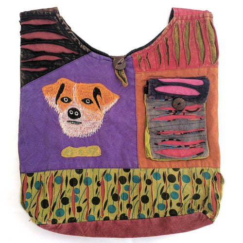 Cotton Shoulder Bag with embroidered Dog
