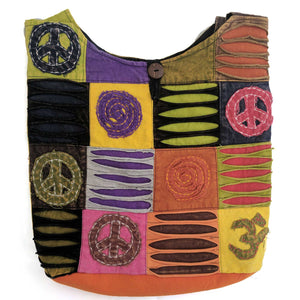 Cotton Shoulder Bag with embroidered peace symbol
