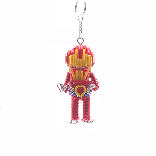 Miniature Wire Art Iron man Keychain hand-crafted from aluminium wire