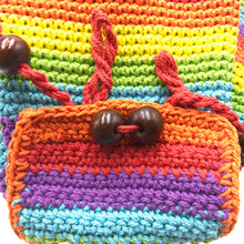 Load image into Gallery viewer, Crochet Rainbow backpack hand-crafted with crochet work