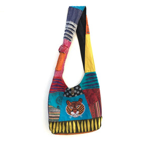 Cotton Shoulder Bag with embroidered Tiger