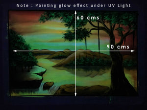 UV Glow Scenery painting made from fluorescent colors