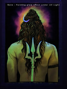 UV Glow Lord Shiva Back painting made from fluorescent colors